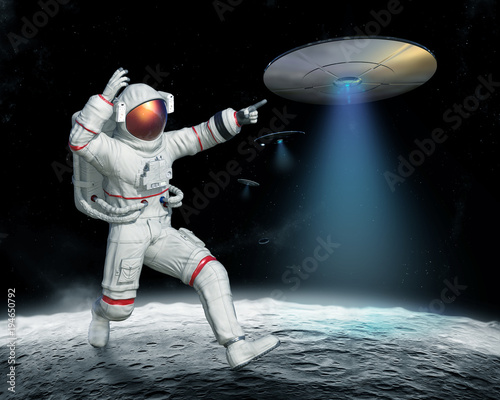 Staande foto UFO invasion of UFO on the Moon