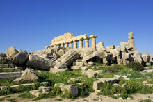Italy, Sicily, Old City Of Selinunte, Ruins Of The Greek Temple,