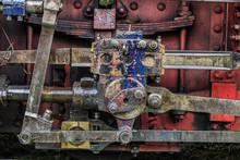 Europe, Romania. Moldovita, Old Steam Train. Piston And Coupling Rods.