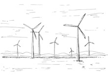 Hand Drawn Windmills On The Background Of Mountains. Vector Illustration Of A Sketch Style