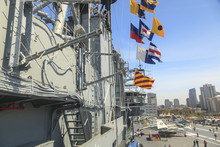 USS Midway Aircraft Carrier, Museum Berthed At San Diego Harbor, California, USA
