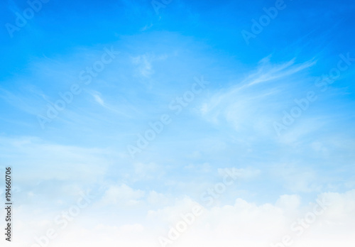 World environment day concept: Abstract white cloud and blue sky in sunny day texture background - 194660706