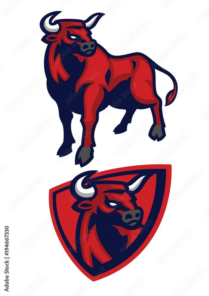 Fototapeta bull mascot set