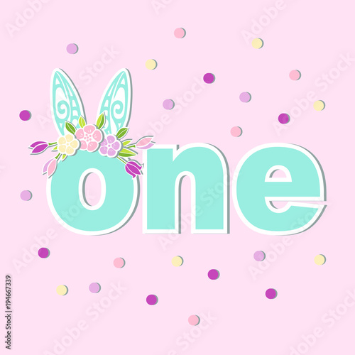 vector illustration one with bunny ears and flower wreath template