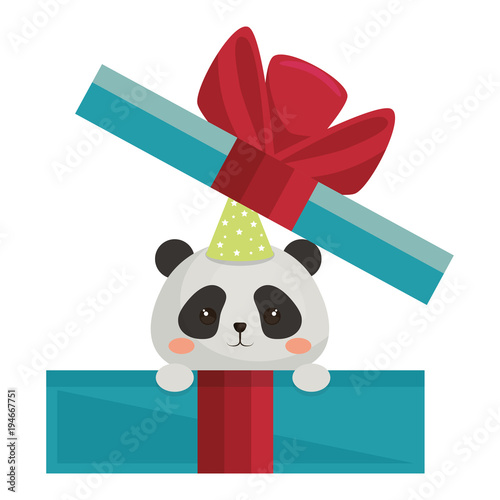 Happy Birthday Card With Bear Panda Vector Illustration Design