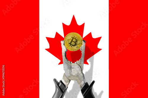 Spoed Foto op Canvas Canada BITCOIN coin being squeezed in vice on the CANADA flag background; concept of cryptocurrency bitcoin under pressure. Prohibition of cryptocurrencies, regulations, restrictions or security