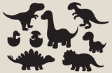 Fototapeta Dino - Vector illustration of dinosaur silhouette including Stegosaurus, Brontosaurus, Velociraptor, Triceratops, Tyrannosaurus rex, and Spinosaurus.