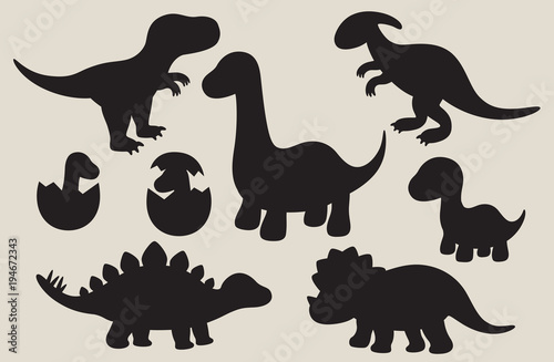 Vector illustration of dinosaur silhouette including Stegosaurus, Brontosaurus, Velociraptor, Triceratops, Tyrannosaurus rex, and Spinosaurus Wallpaper Mural