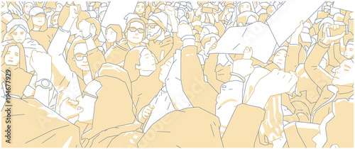 Fototapeta  Illustration of crowd protest, demonstration in color