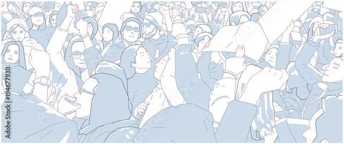 Fényképezés  Illustration of crowd protest, demonstration in color