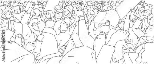 Fényképezés  Illustration of crowd protest, demonstration in line art