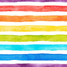 Watercolor Rainbow Stripes Vec...