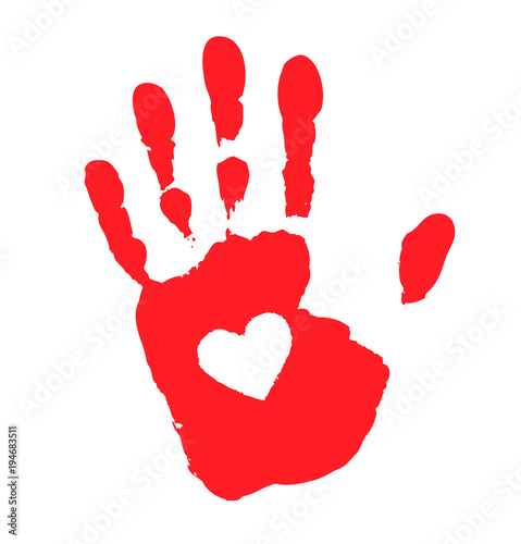 Fotografie, Obraz  Hand print with heart icon. Vector illustration