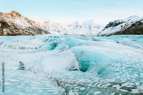 Glaciers vatnajokull glacier frozen on winter season, iceland