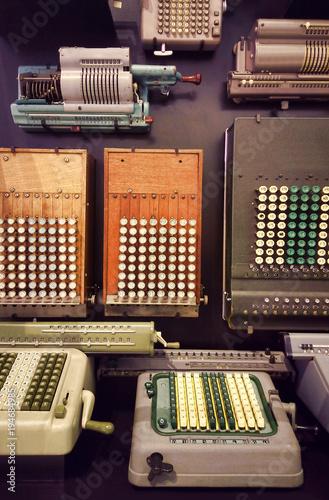 old industrial calculators, retro style - 194684985