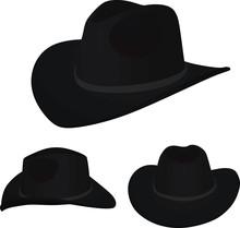 Black Cowboy Hat. Vector Illustration