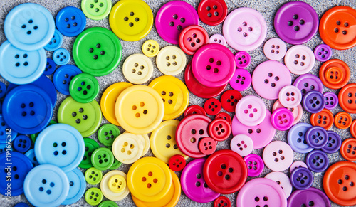 Photo sur Aluminium Macarons Colorful plastic clothing buttons