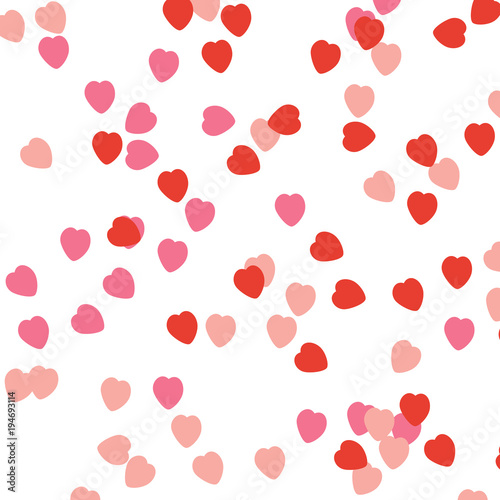 Confetti Hearts Falling On Empty White Background Greeting Card Or