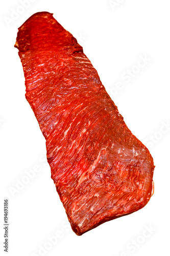 Leinwand Poster Steak of marbled beef sirloin flap (Bavet)
