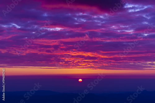Spoed Foto op Canvas Violet beautiful sunset landscape seen from mountain of Romania, Ceahlau