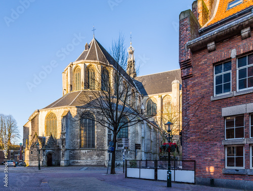 Big Saint-Laurens church in the historic city centre of Alkmaar in  North-Holland in the Netherlands. Also known as the city of cheese. - Buy  this stock photo and explore similar images at