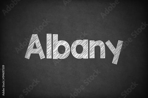 Fotografie, Obraz  Albany on Textured Blackboard.