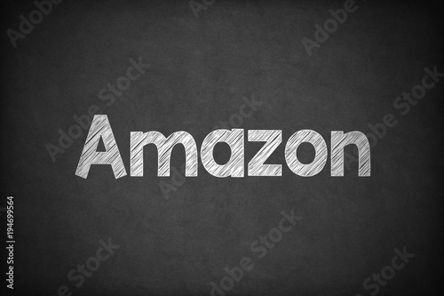 Photo Amazon on Textured Blackboard.