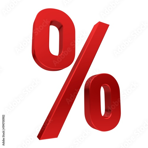 Fotografía  Percent red sign percentage symbol discount icon sales label tag  template 3d cu