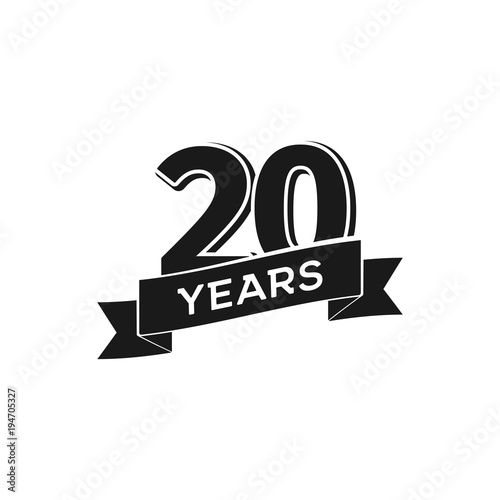 Photo  Vector 20 years anniversary logotype
