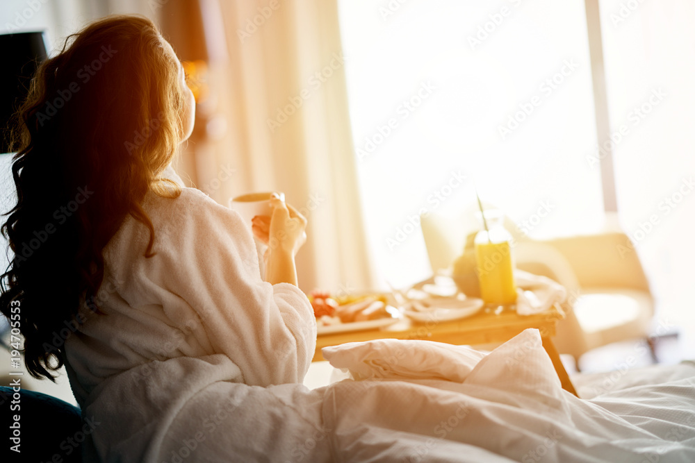 Fototapety, obrazy: Breakfast in bed, cozy hotel room