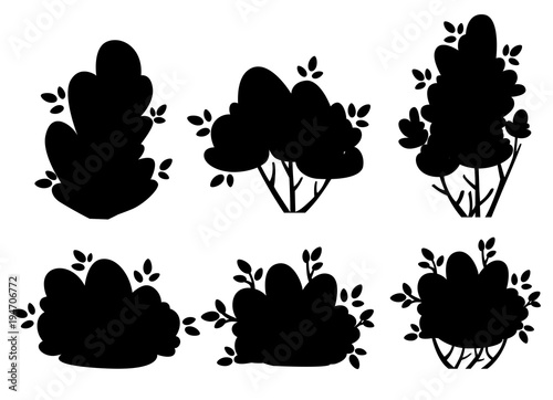 Cuadros en Lienzo Set of silhouettes bush and garden trees for park cottage and yard vector illust