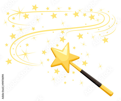 Cuadros en Lienzo Decorative magic wand with a magic trace