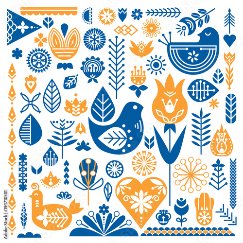 Leinwand Poster  Collection of blue and orange ethnic elements