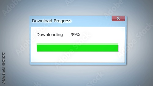 Photo  Download progress almost done, dialog box with green status bar, software update