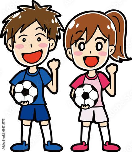 サッカーをする男性女性のイラスト素材 Buy This Stock Vector And