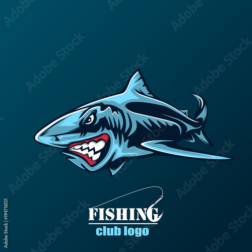 Photo Toothy great white shark fishing logo