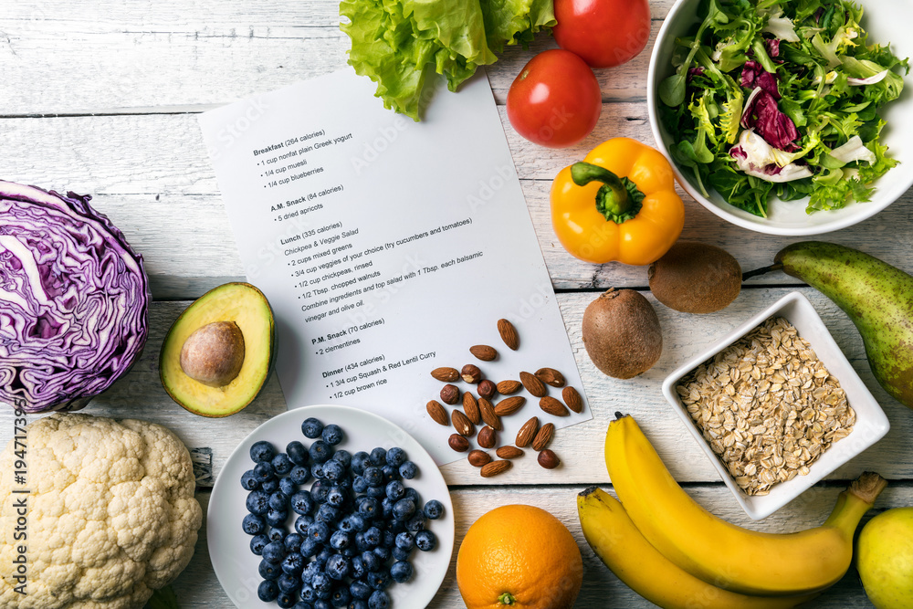Fototapety, obrazy: balanced diet plan with fresh vegetables and fruits on the table
