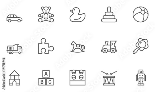 Obraz na plátne Set of Toys Vector Thin Line, Flat Design Icons with Cloud, Sun, Rain and more