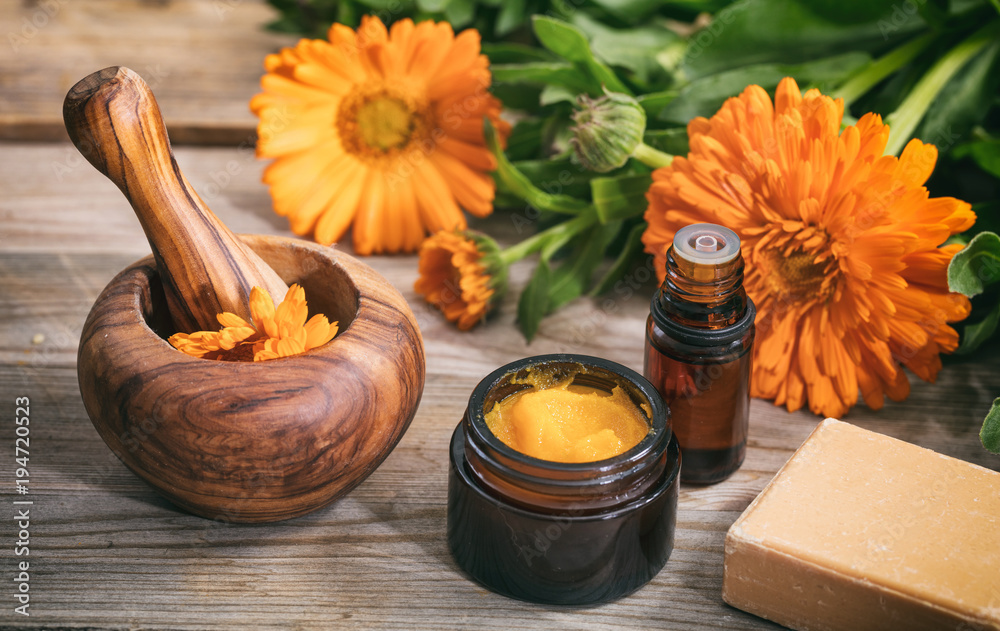 Fototapety, obrazy: Calendula essential oil, ointment and a mortar on a wooden table, fresh blooming calendula background,