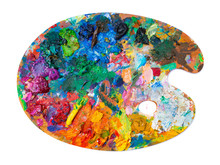 Bright Oil Paint Palette On Wh...