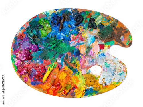 Fotografering bright oil paint palette on white background