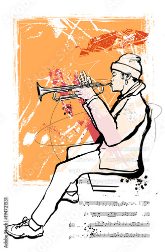 Tuinposter Art Studio Trumpet player on grunge background