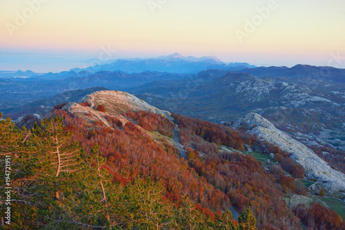 Poster Diepbruine Evening mountain landscape. Montenegro, view of Lovcen National Park