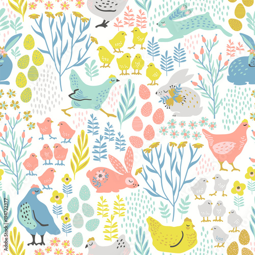 Poster Kunstmatig Vector seamless pattern with bunnies and chicken for Easter and other users