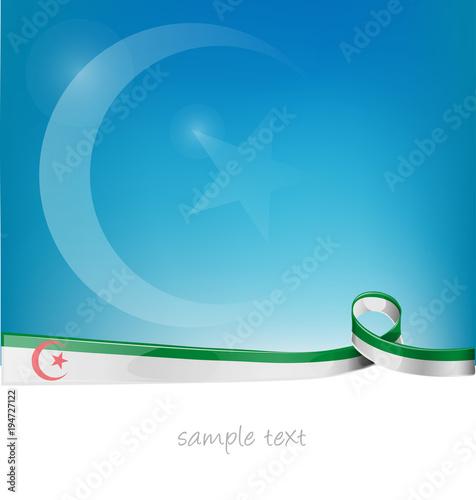 Fotografia  algeria ribbon flag on blue sky background