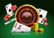 Casino Roulette With Chips, Re...