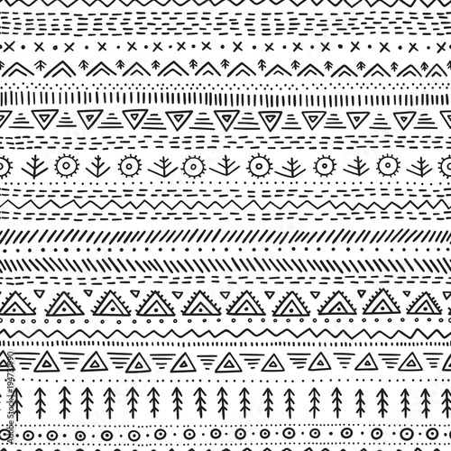 Poster Boho Stijl Vector seamless pattern with ethnic tribal hand-drawn trendy ornaments