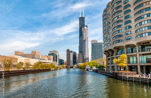Fotografia  View of Chicago cityscape from Chicago River  Illinois, United States