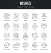Set Vector Line Icons of Dishes.
