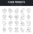 Set Vector Line Icons of Flour Products.